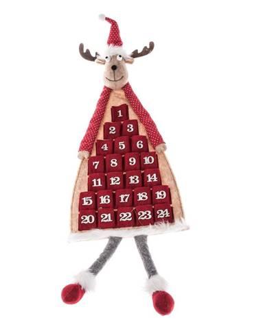 Červený textilný závesný adventný kalendár v tvare soba Dakls, dĺžka 110 cm