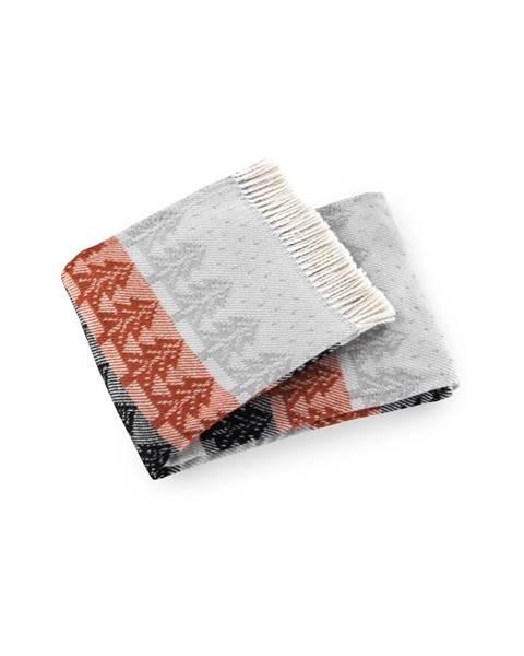 Euromant Červeno-sivý pléd s podielom bavlny Euromant Moss, 140×180 cm