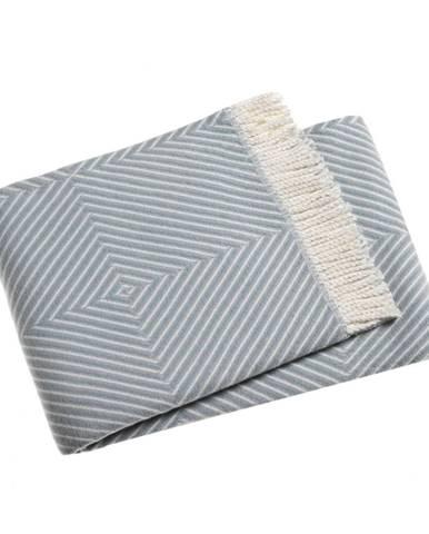 Blankytnemodrý pléd s podielom bavlny Euromant Tebas, 140 × 160 cm