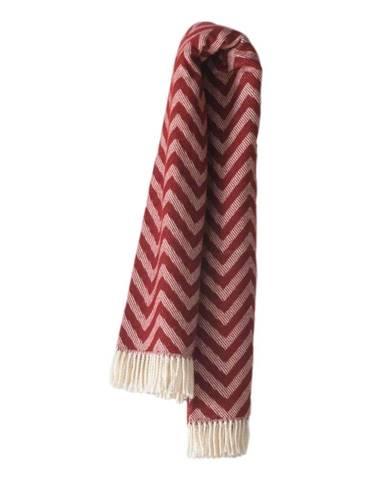Burgundovočervený pléd s podielom bavlny Euromant Chevron, 140×180 cm
