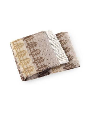 Hnedý pléd s podielom bavlny Euromant Moss, 140×180 cm