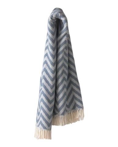Modrý pléd s podielom bavlny Euromant Chevron, 140×180 cm