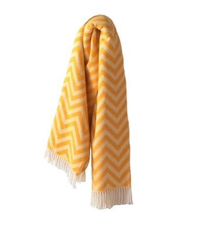 Žltý pléd s podielom bavlny Euromant Chevron, 140 × 160 cm