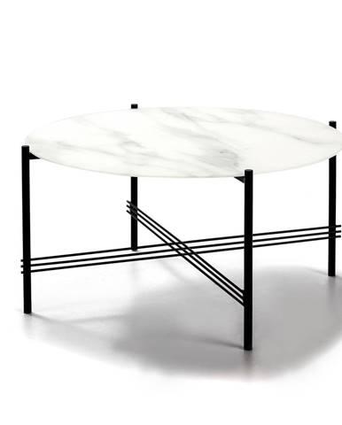 Bielo-čierny konferenčný stolík so sklenenou doskou v mramorovom dekore Marckeric, ø 84 cm