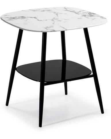 Bielo-čierny konferenčný stolík so sklenenou dosky v mramorovom dekore Marckeric Alina