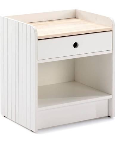 Biely nočný stolík s doskou z borovicového dreva Marckeric Monte