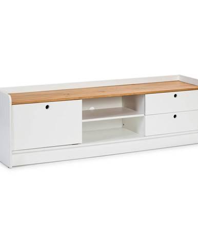 Biely TV stolík s doskou v dekore borovicového dreva Marckeric Monte