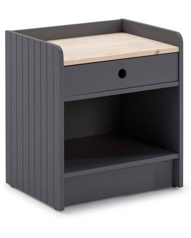 Sivý nočný stolík s doskou z borovicového dreva Marckeric Monte