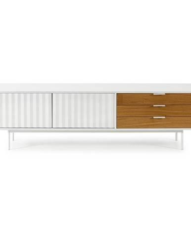 Bielo-hnedý televízny stolík Teulat Sierra