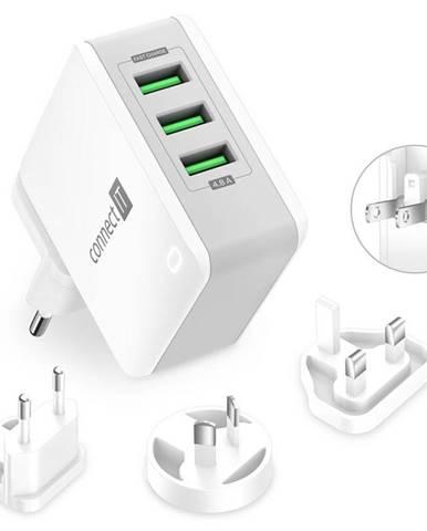 Nabíjačka do siete Connect IT Nomad2 WorldTravel, 3x USB, 24W biela