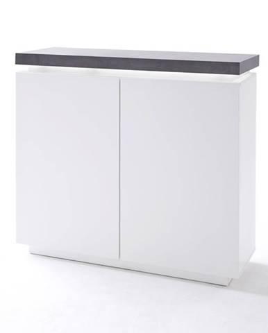 Komoda ATREJU biela/betón, šírka 120 cm, dvojdverová