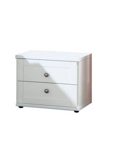 Nočný stolík VANNES biela, 2 zásuvky