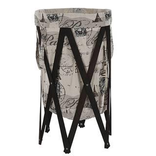 Skládací kôš na prádlo tmavo hnedá/potlač DZIMBO 1