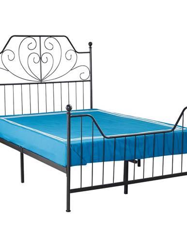 Kovová posteľ s roštom čierna 160x200 RAJANA