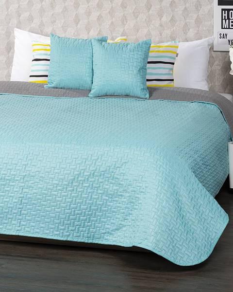 4Home 4Home Prehoz na posteľ Doubleface tyrkysová/sivá, 220 x 240 cm, 2 ks 40 x 40 cm