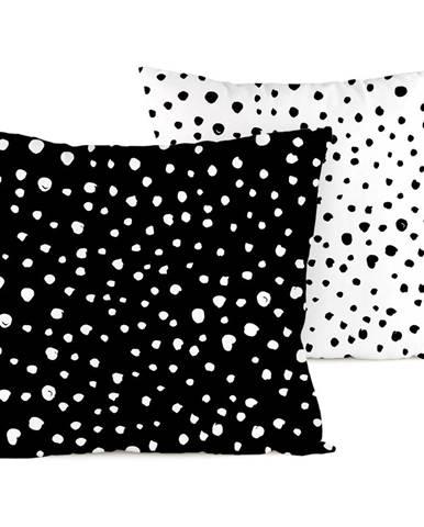 4home Obliečka na vankúšik Bodky Dalmatín čiernobiela, 40 x 40 cm