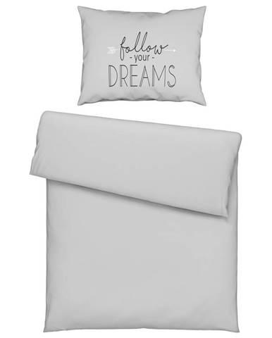 Posteľná Bielizeň Follow Dreams, 140/200cm, sivá