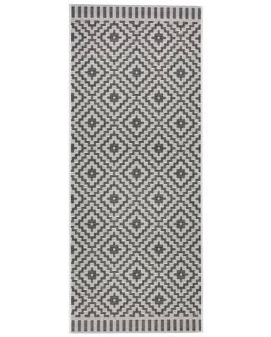 Hladko Tkaný koberec soho, 80/200cm, Čierna