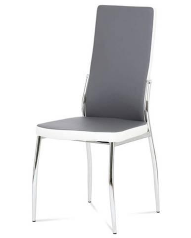 Jedálenská stolička ABIGAIL sivá/biela/chróm