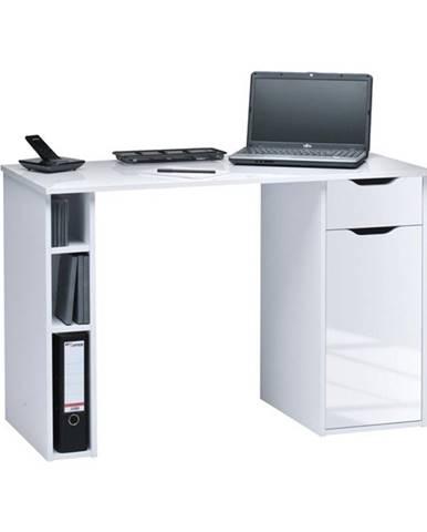 Písací stôl ARCHIE biela vysoký lesk