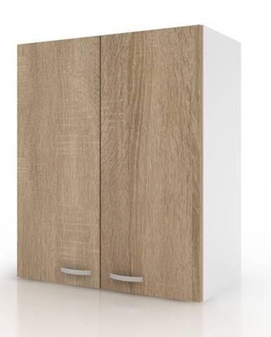 Závesná horná skrinka POLAR II dub sonoma/biela, 60 cm