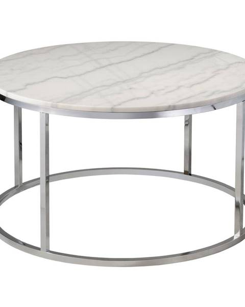 RGE Biely mramorový konferenčný stolík s chrómovanou podnožou RGE Accent, ⌀85cm