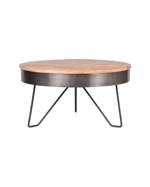 LABEL51 Sivý odkladací stolík s doskou z mangového dreva LABEL51 Saran, ⌀ 80 cm