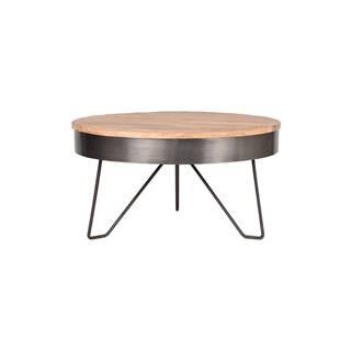 Sivý odkladací stolík s doskou z mangového dreva LABEL51 Saran, ⌀ 80 cm
