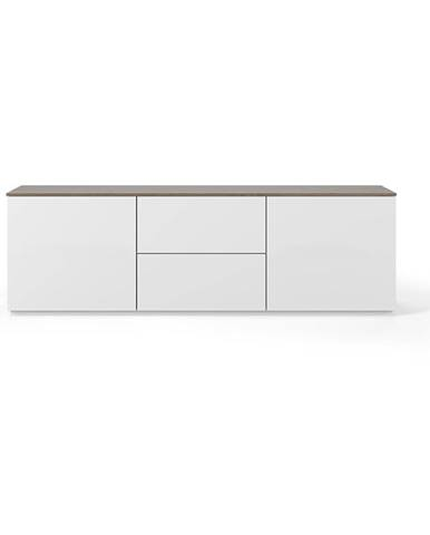 Biely matný televízny stolík s hnedou doskou TemaHome Join, 180 × 57 cm