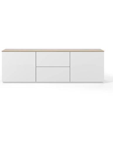 Biely televízny stolík s doskou v dekore dubového dreva TemaHome Join, 180 × 57 cm