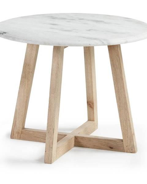 La Forma Odkladací stolík z mangového dreva a mramoru La Forma Hella