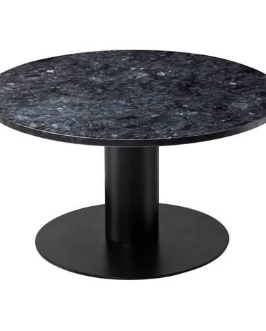 Čierny žulový konferenčný stolík s podnožím v čiernej farbe RGE Pepo, ⌀ 85 cm
