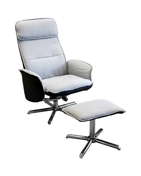 IDEA Nábytok Relaxačné kreslo s podnožkou DAN sivé