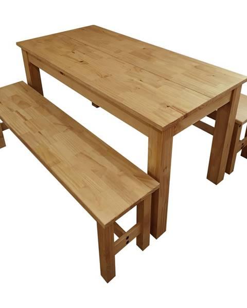 IDEA Nábytok Stôl 140x70 + 2 lavice CORONA 2 vosk