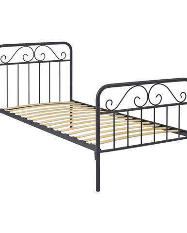 Kovová posteľ LEON 90x200 sivá