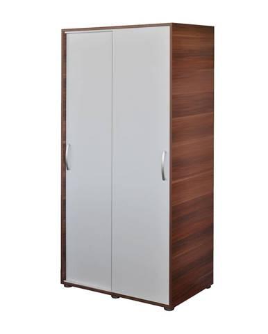 Skriňa s posuvnými dverami 65641 orech/biela