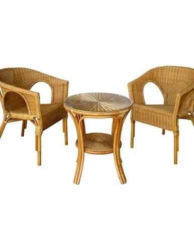 Zostava MANILA stôl + 2 kreslá ratan