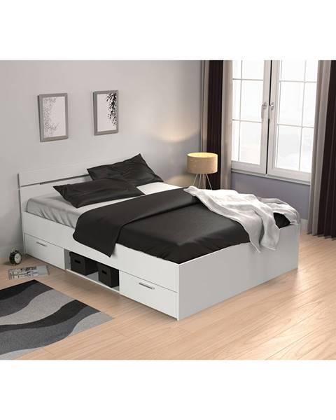 IDEA Nábytok Multifunkčná posteľ 140x200 MICHIGAN perleťovo biela