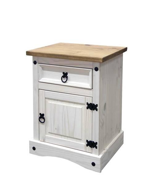 IDEA Nábytok Nočný stolík CORONA biely vosk 16345B