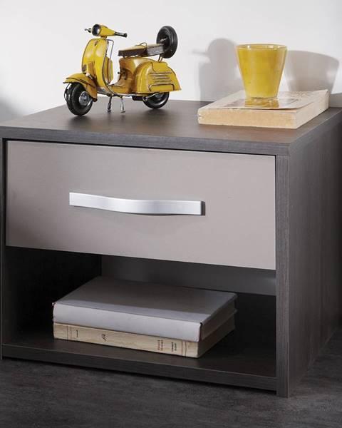 IDEA Nábytok Nočný stolík GRAPHIC tmavý dub/sivá