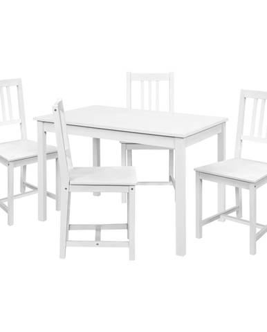 Jedálenský stôl 8848B biely lak + 4 stoličky 869B biely lak