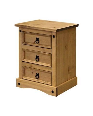 Nočný stolík 3 zásuvky CORONA vosk