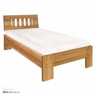 Drewmax Jednolôžková posteľ - masív LK283 | 80 cm dub