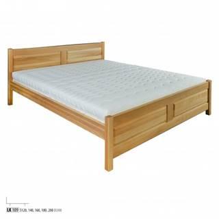 Drewmax Manželská posteľ - masív LK109 | 180 cm buk