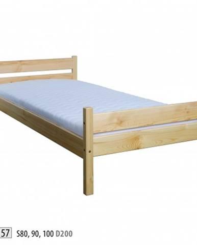 Drewmax Jednolôžková posteľ - masív LK157   90 cm borovica