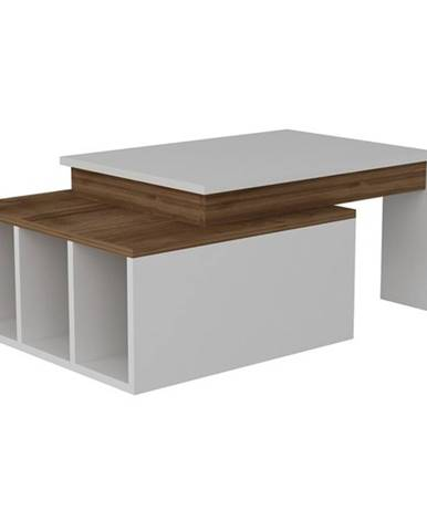 Konferenčný stolík KOLARADO biela/orech