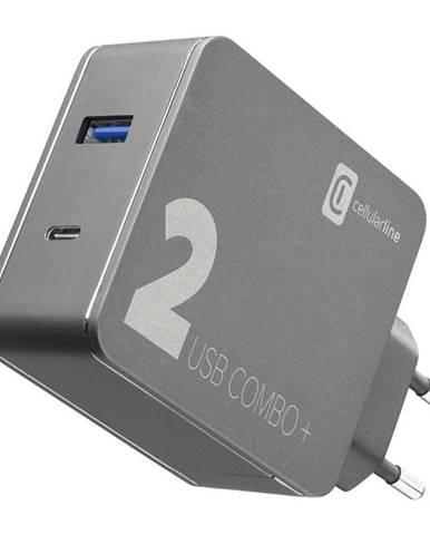 Nabíjačka do siete CellularLine Multipower 2 Combo Plus,1x USB 3.0,