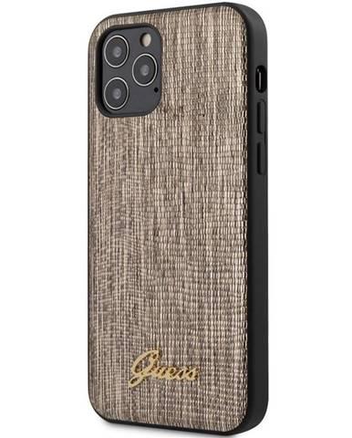 Kryt na mobil Guess Lizard na Apple iPhone 12/12 Pro zlatý