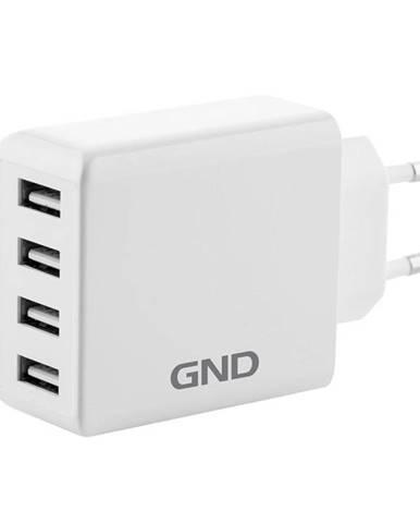 Nabíjačka do siete GND 4x USB, 6A biela