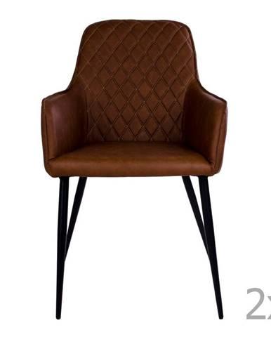 Sada 2 hnedých jedálenských stoličiek HoNordic Harbo